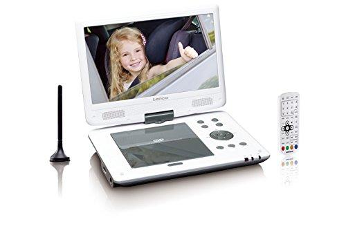 Lenco DVP-1063WH Tragbarer DVD Player mit USB (SD, DVB-T2, 180 Grad Bildschirm, Netzadapter, 12V Fahrzeugadapter, Fernbedienung), 25,4 cm (10 Zoll) weiß