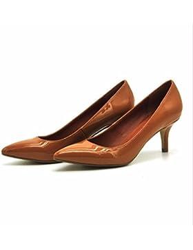 SKWEUS SHOES Tacchi Alti In Pelle Verniciata Scarpe Donna Single Belle Scarpe Con Tacchi Alti Scarpe Sandali Punta...