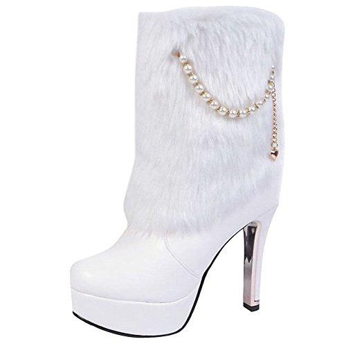 MissSaSa Donna Stivali e col Affascinante Bianco Elegante Alto Tacco Scarpe rrx4q8wdH