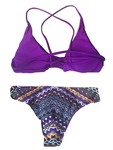 Summer Mae Donna Coordinati da Bikini Imbottito con Lacci e Taglio Capestro Viola