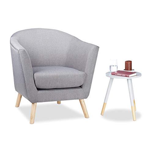Relaxdays Cocktailsessel Retro, skandinavisches Design, weich, bequem, runder Relaxsessel, HxBxT: 81 x 78 x 70 cm, grau, Standard -