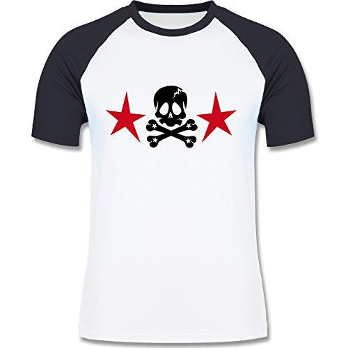 Piraten & Totenkopf - Totenkopf mit Sternen - zweifarbiges Baseballshirt für Männer Weiß/Navy Blau