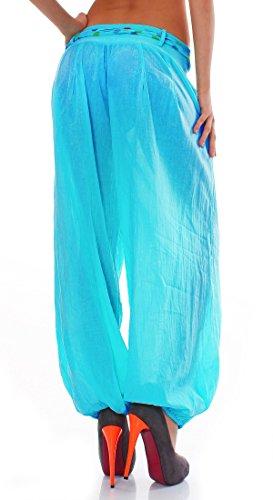 ZARMEXX Haremshose Pumphose mit Gürtel Pluderhose Uni-Farben Ballonhose Aladinhose Harem Hose Sommerhose Yoga One-Size Hellblau