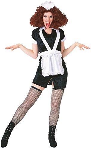 Herren Damen magenta Maid Rocky Horror Halloween Narbe Drag Herrenabend Junggesellinnenabschied Do TV Buch Film Kostüm Kleid Outfit (Rocky Horror Maid Kostüme)