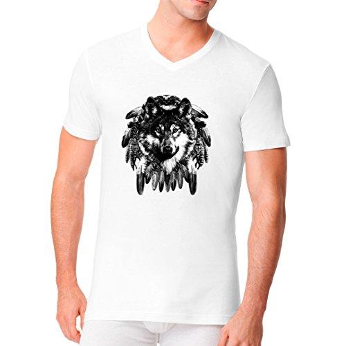 Fun Männer V-Neck Shirt - Wolf Traumfänger by Im-Shirt Weiß