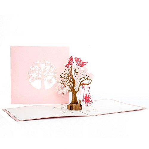 """Pop-Up Karte """"Butterflies in Love"""" – 3 D Hochzeitskarte, Liebe, Hochzeit Einladung, Verlobungskarte, Valentinstag, Liebespaar auf Schaukel, Geburtstagskarte"""