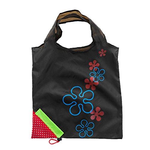 ZHONGYU 1 Stück Tragbare Eco Grab Bag mit Griffen, faltbar, wiederverwendbar, lebensmittelechtes Nylon, Erdbeeren-Einkaufstasche, Supermarkt, Heimgebrauch, Polyester, Schwarz, 51 * 37cm (Nylon Wiederverwendbare Einkaufstaschen)