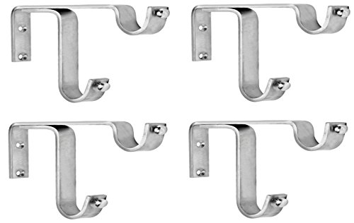 Ddrapes - 4 Strong Double SS Bracket for 2 Curtain Rod at amazon