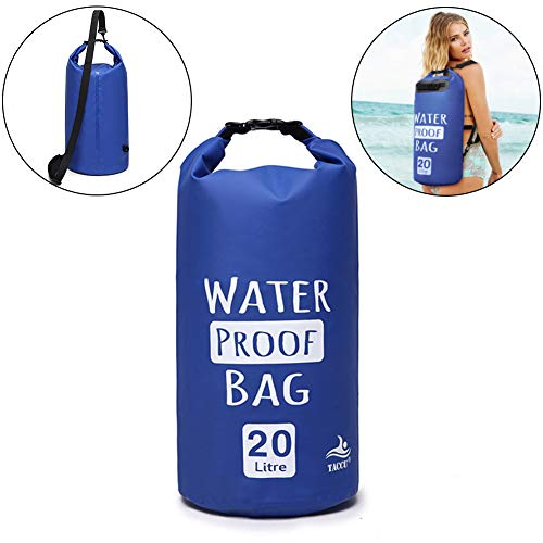 Scettar Dry Bag,5L,10L,20L,Wasserdichte Tasche,Wasserdichter Packsack,Wasserdichte Beutel mit Wasserdichter Handybeutel,Für Ruder,Boot und Kajak,Rafting Angeln(Deep Blue, 20L)