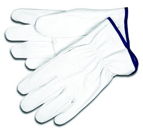 Ziegenleder-treiber Handschuhe (MCR Sicherheit 3603M Select Getreide Ziegenleder Treiber Handschuhe mit gerade Daumen, weiß, Medium, durch MCR Sicherheit)