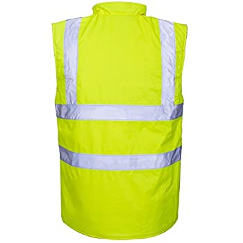 Myshoestore Hi Viz Vis Bodywarmer Fleece Lined Reversible High Visibility Reflective Waterproof Workwear Security Safety Wear Warm Gilet Waistcoat Body Warmer Padded Vest Size S-5xl 2