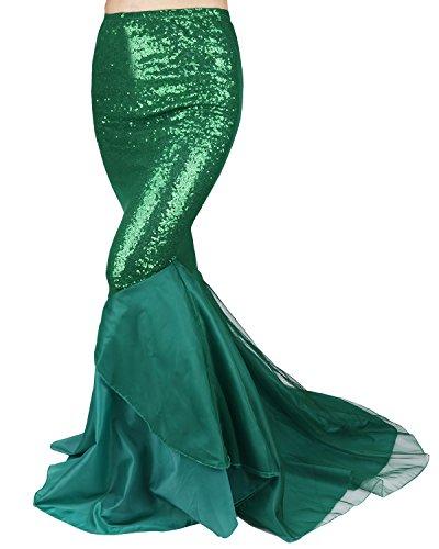 Freebily Damen Rock Bodenlang Mermaid Tail Meerjungfrau Schwanz Kostüm Pailletten Röcke Maxirock Festlich Kleid für Karneval Fasching Halloween Party Grün - Mermaid Schwanz Kostüm