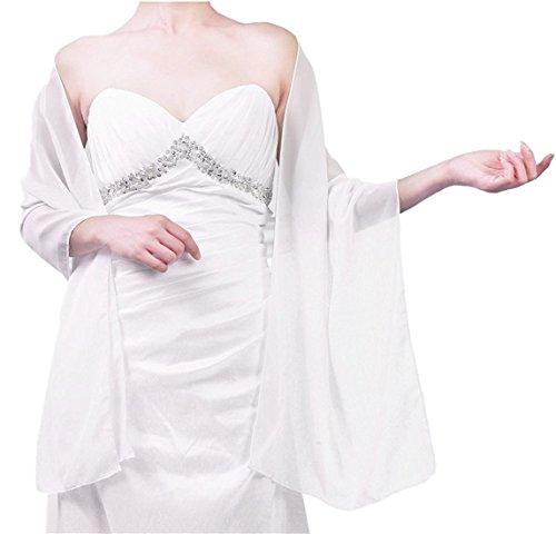 Beyonddress Damen Trend Fashion Schal Cape Wraps Sheer weichen Chiffon Braut-Shawl für Besondere Anlässe (27 Farben) Weiß