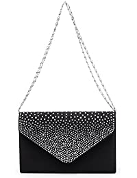 Femme Sac soiree en satin nuptiale Strass Diamant Pochette Party Prom