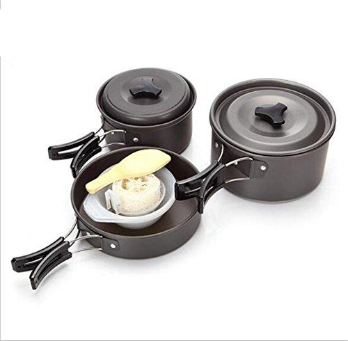 YHKQS-KQS Camping Outdoor Küche Supplies Aluminium Legierung Material 2-3 Camping Kochgeschirr Set Faltbarer Griff