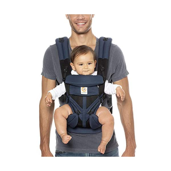 Ergobaby Omni 360 Cool Air Mesh, Raven Ergobaby Baby carrier for new-born - adapts to your growing baby from birth to toddler (7-45lbs). 4 carry positions: front-inward, back, hip, and front-outward Comfort - exceptional lower back comfort with padded lumbar support waist belt & extra padded shoulder straps with the option to wear 2 ways: crossed or backpack style Cool & breathable - our cool air mesh baby carriers are made with soft and durable mesh fabric that provides our renowned ergonomic support for baby 1