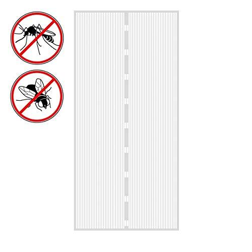ECD Germany Fliegengitter Tür Insektenschutz Weiß- 100 x 210 cm - Klebmontage ohne Boren - Magnetvorhang für Balkontür, Kellertür, Terassentür - Magnet Vorhang Moskitonetz Fliegenvorhang