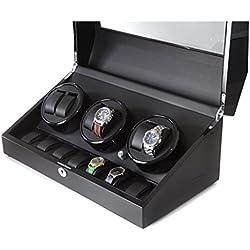 Klarstein Old Marshall großer Uhrenbeweger für 13 Uhren repräsentativer Uhrenkasten (wählbare Bewegunsgmodi, 3 Drehbühnen, Akku) schwarz