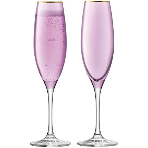 LSA International Sorbet Champagner Flöte 225ml Rose x 2, pink, 7x 7x 24cm