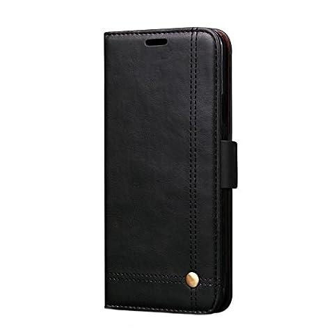 Samsung Note 8 Schutzhülle mit Ständer Karte Slot von FQIAO, PU Leder Full prägnant Business Langlebig Defender für Samsung Note 8 2017 Release schwarz schwarz