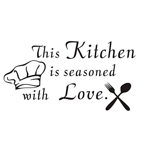 Küche Wandaufkleber Seine Küche ist gewürzt mit Liebe Besteck und Kochmütze Grafik Vinyl Art Decor Aufkleber 59x31cm
