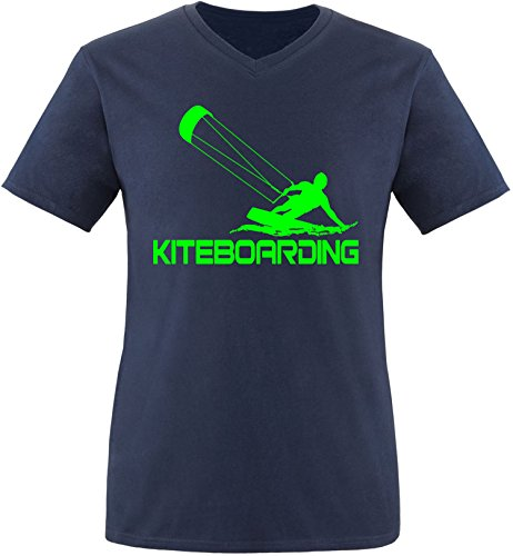 EZYshirt® Kiteboarding Herren V-Neck T-Shirt Navy/Neongrün