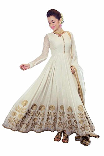 Super Deal Woman\'s Cream Georgette Anarkali Unstitched Free Size XXL Salwar Suits Sets Dress (Indian Clothing)