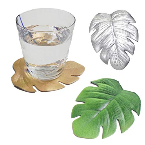 Busirde Forma 3pcs Hoja Coaster Aroma Cup Holder Bebidas Mat Vajilla Mantel de Cristal del té del cojín Decoración