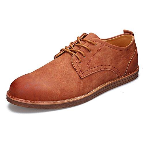 Printemps Homme Business Derby Bout Rond Chaussure à Lacet Mode Derby Brun