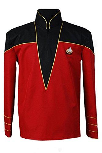 Jacke Admiral Kostüm - Elecos Star Trek Admiral/Offizier Uniform Shirt Top Jacke cospaly Kostüm Set Herren Rot S