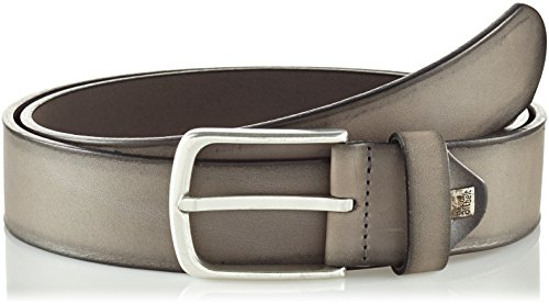Lindenmann The Art of Belt by Mens leather belt/Mens belt, full grain leather belt with effect, unisex, grey