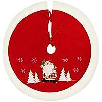 Agoer - Base per Albero di Natale, Rotonda, Coperta per Albero di Natale, Protezione Decorativa Contro Gli Aghi – Rosso, Bianco