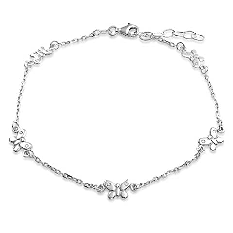 Bling Jewelry 925 Sterling Silver Rolo Chain Ankle Bracelet Butterfly Anklet