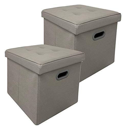HAC24 2er Set Sitzhocker Aufbewahrungsbox Kunstleder | Sitzwürfel mit Deckel Faltbar | Aufbewahrungs-Box | Dekohocker Kiste Stapelbar (Grau)