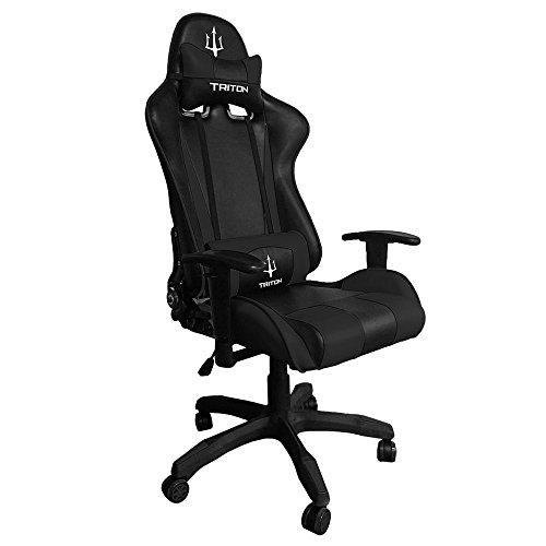Triton p050-f1-bb Gaming Chair-sedia, Simili Cuir, Noir/Noir, 75x 60x 140cm