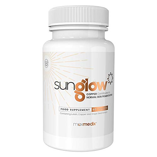 Sunglow by MaxMedix - Natural Supplement for Tanning - With L-tyrosine, Grape Seed Extract, Lutein and Vitamins A + C - Stimulates Natural Tanning of the Skin