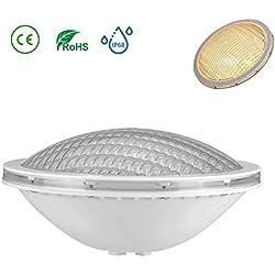 LyLmLe Lampe Piscine PAR56,18W Spot Piscine Etanche IP68 LED de Piscine Submersible Lumière 12V DC/AC,3000K Blanc Chaud