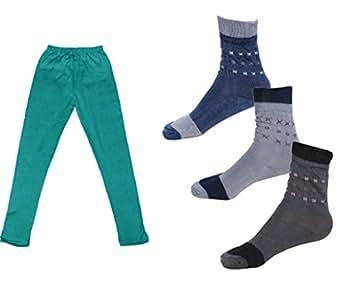 Indiweaves Girls Cotton Leggings and Socks Combo (Pack of 1 Legging and 3 Pair Socks)-Green-1-3 Years