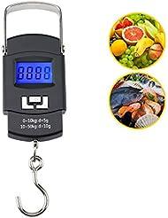 Digital para colgar escala, gofun 50kg Electrónico Escala LCD retroiluminado pesca equilibrio gancho para colgar escala 110lb con 1m cinta métrica