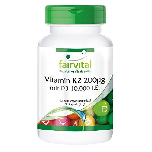 Vitamina K2 200 mcg con D3 10000 IU - Altamente dosificado - 90 cápsulas solamente 1 cápsula cada 10 días - ¡Calidad Alemana garantizada!