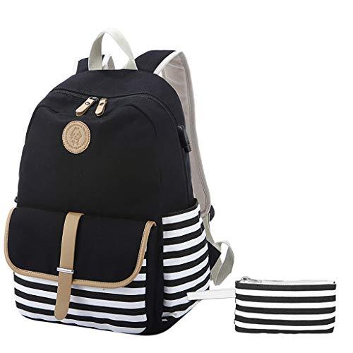 VECOLE Rucksäcke Damen 2019 Schulranzen Affen Streifen Navy Student Taschen Bleistift Taschen Canvas Taschen Rucksack Rucksack (Paket Zwei Stück + USB)(Schwarz)