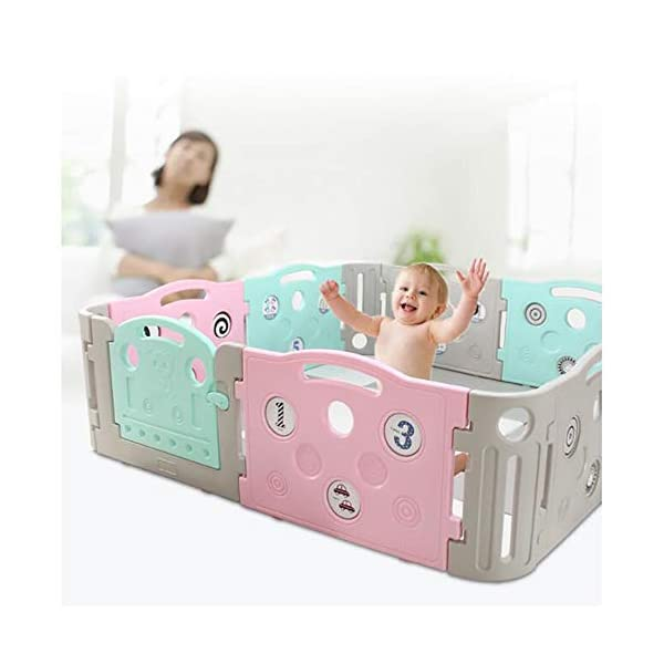 Foldable Baby Fence Plastic Baby Playpen Baby Safety Toddler Fences Indoor Toy Fencing Triple Protection Security Hardening Baby's Playground Suitable For Babies Over 6 Months  ▶ Multi-function: There are cute digital patterns on the bar, which can be used as a stand-alone game fence. The baby can not only play, but also learn and exercise cognitive ability. ▶Safe and secure: Heighten 65cm height, solid fence, prevent baby from turning out, HPDE environmental protection material, rotary switch single open design, prevent baby from opening from inside, safer ▶ Stable: 1cm thick anti-slip rubber pad, increase the friction with the ground, make the fence more firm, and there are card slots between the two plates to ensure that the fence does not shake 8