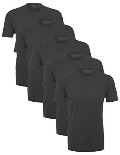 Lower East Herren T-Shirt mit Rundhalsausschnitt, 5er Pack, Grau (Anthrazit Melange), Medium