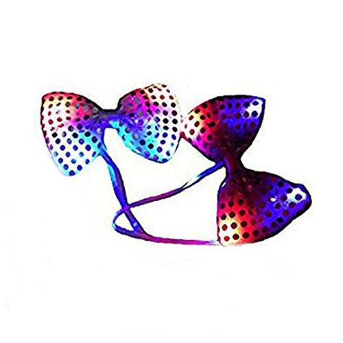 SwirlColor Satz von 2 leuchten LED-Sequin-Bogen-Krawatten Neuheit-blinkende Partei-Verein-Glühen-Krawatten - gelegentliche Farbe