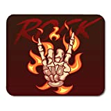 AOCCK Tappetini per Il Mouse, Gaming Mouse Pad Album Skeleton Brush Shows Rock Gesture on Fire Band Bone 11.8'x 9.8' Decor Office Nonslip Rubber Backing Mousepad Mouse Mat