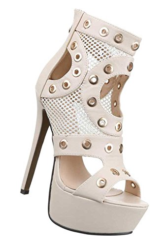Damen-Schuhe Pumps | Frauen High Heels mit Plateau und 15 cm Stiletto-Absatz in Beige und Größe 39 | Schuhcity24 | Sandaletten mit Ösen Verzierung | Peep Toe (Braut-Öse)