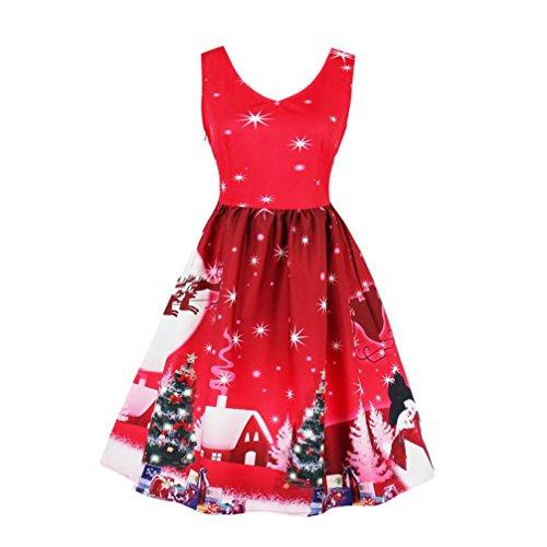 (TWIFER Plus Size Frauen Santa Weihnachten Kleid Party Vintage Xmas Swing Skater Kleid)