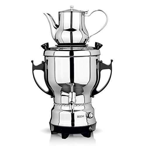 BEEM Samowar 2030 - 3 l   Teekocher elektrisch   2.200 W   Edelstahl   3 l Wasserbehälter   1 l Teekanne   Privat, Hotel und Gastro