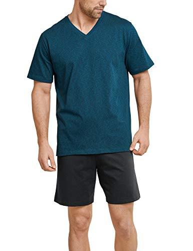 Schiesser Herren kurz\' Zweiteiliger Schlafanzug, Blau (Petrol 811), Large (Herstellergröße: 052)