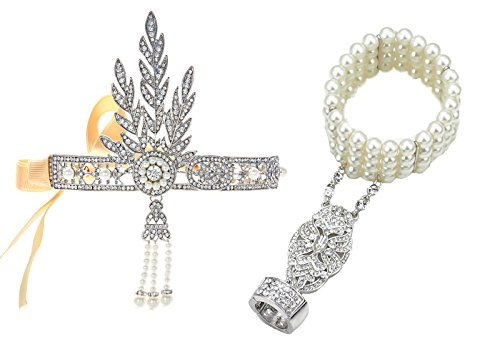 Babeyond Bling Silver-Tone The Great Gatsby Inspired Leaf Simulated Pearl Hair Tiara and Bracelet Adjustable Ring Set